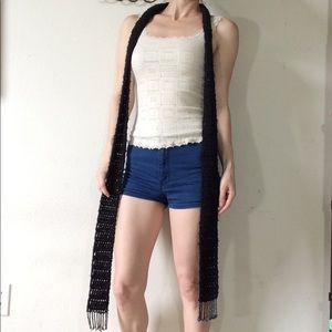 Hand Knit LONG Black Star Beaded Fringe Scarf